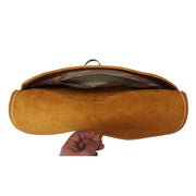 Real Leather Wrist Clutch Bag A5 Size Underarm Folio Case Nixes Tan Open