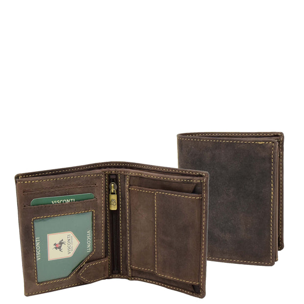 Mens Distressed Leather Wallet Coins Credit Cards Note Case A108 Brown