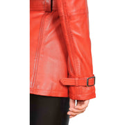 Womens Soft Leather Trench Coat Olivia Red Feature 2