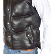 Mens Quilted Leather Waistcoat Body Warmer Gilet Jeff Black Feature