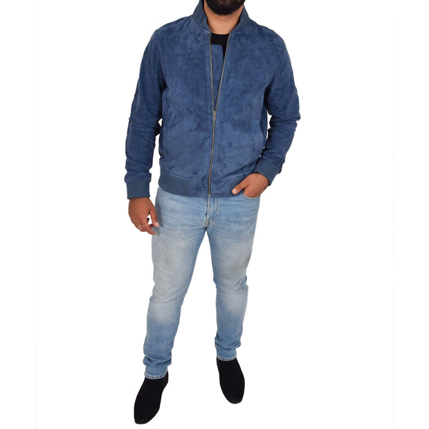 Mens Soft Goat Suede Bomber Varsity Baseball Jacket Blur Blue Full