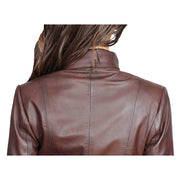Womens Classic Fitted Biker Real Leather Jacket Nicole Brown Back Feature