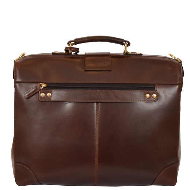 Genuine Leather Doctors Briefcase Gladstone Bag Duke Brown Back