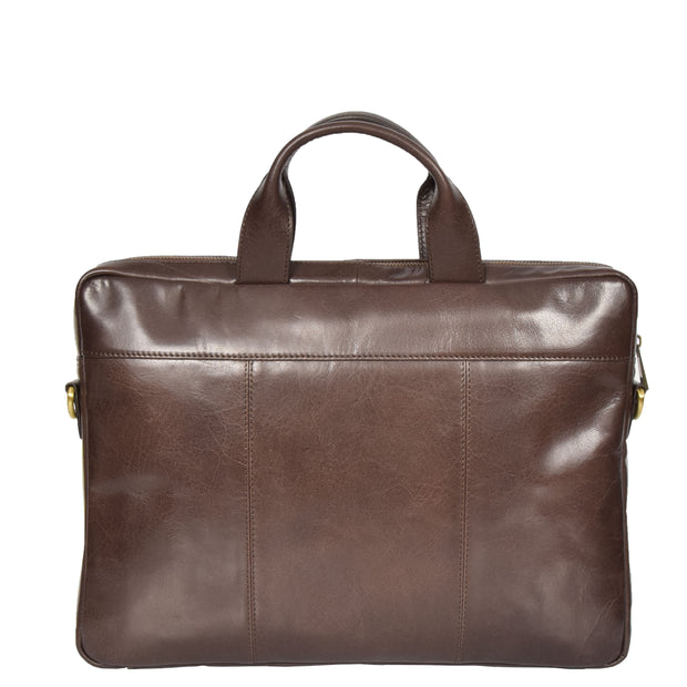 Laptop Briefcase Real Leather Business Bag Messenger Satchel Brown Nice Back