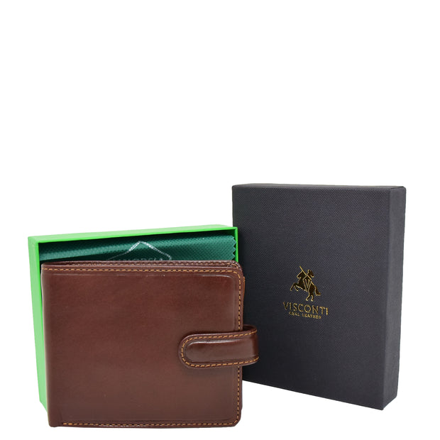 Mens High Quality Real Italian Leather Wallet Purse AVT53 Brown With Box