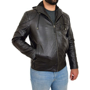 Mens Real Black Leather Hooded Jacket Sports Fitted Biker Style Coat Barry Front Side 2