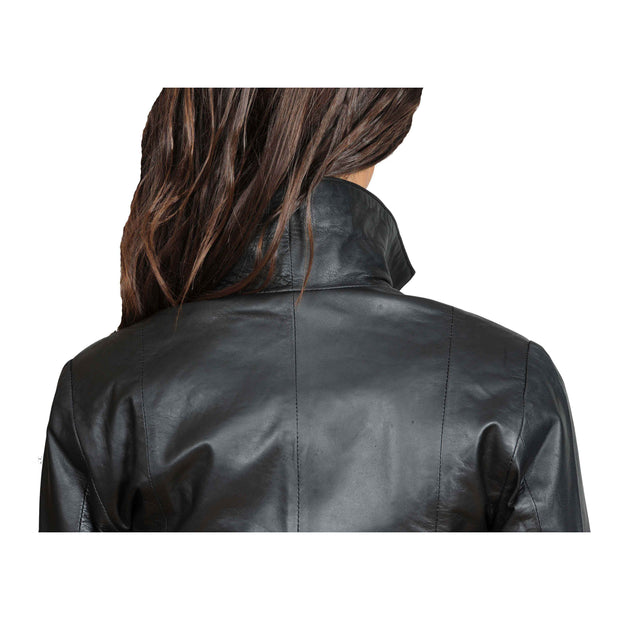 Womens Classic Fitted Biker Real Leather Jacket Nicole Black Back Feature