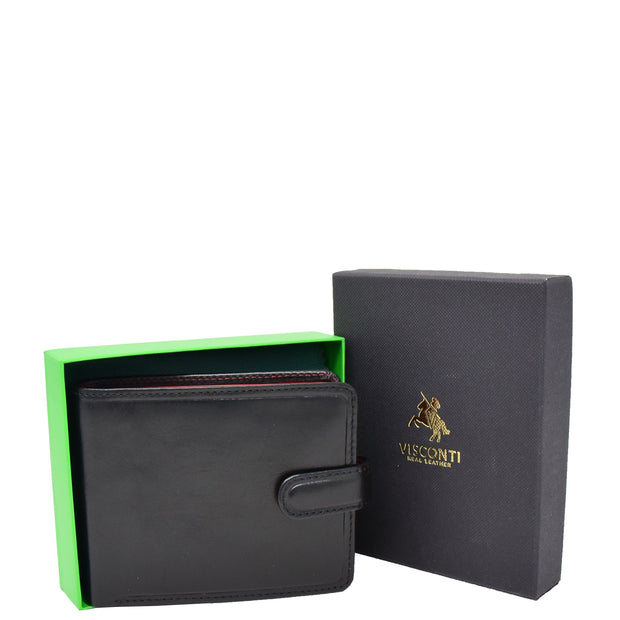Mens High Quality Real Italian Leather Wallet Purse AVT53 Black With Box