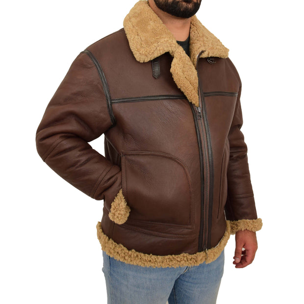 Mens Brown Real Sheepskin B3 Flying Bomber Jacket Shearling Aviator Pilot Coat Larry