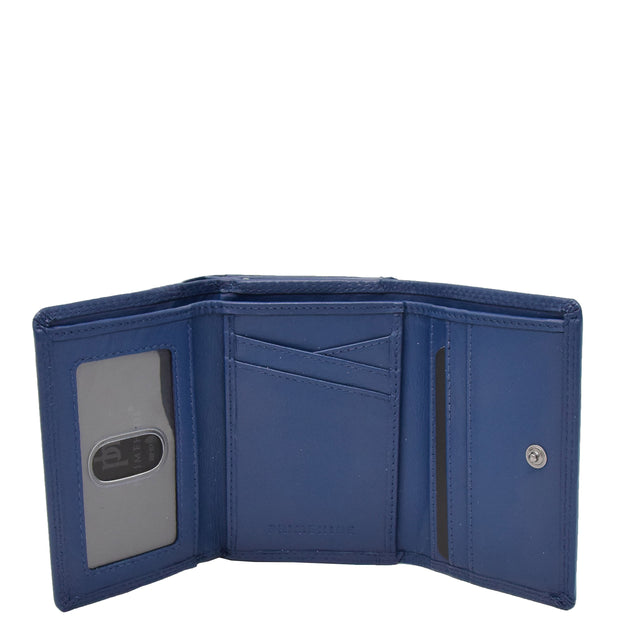 Womens Real Leather Purse Trifold Metal Clasp Wallet AL21 Navy Open 3