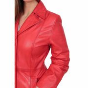Womens 3/4 Button Fasten Leather Coat Cynthia Red Feature