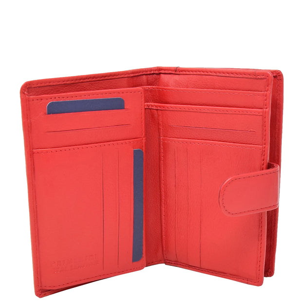Womens Soft Real Leather Purse Trifold Booklet Clutch AL22 Red Open 2