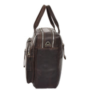 Pure Leather Briefcase Laptop Satchel Office Business Bag Otis Brown Side