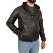 Mens Real Black Leather Bomber Hoodie Jacket Sports Fitted Coat Kent Front Side 2