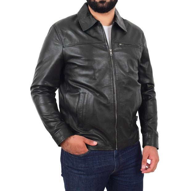 Mens Leather Jacket Genuine Soft Black Zip Fasten Box Style Sean Front 2