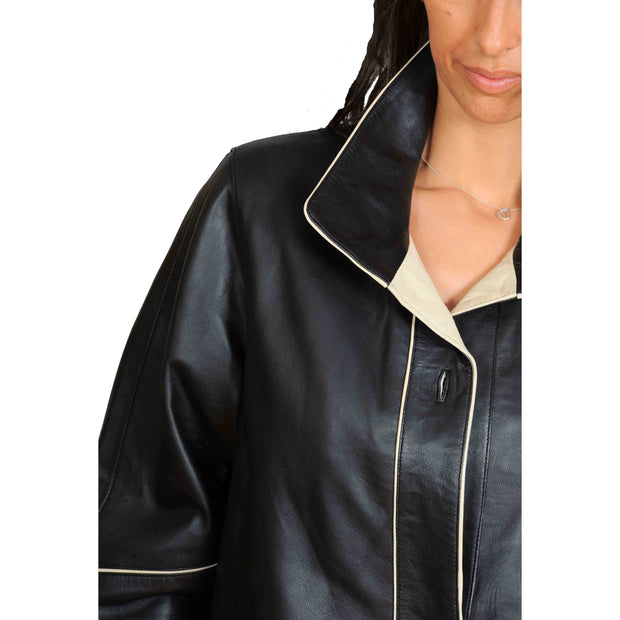 Ladies Classic Parka Real Leather Coat Trim Jacket Lulu Black-Beige Feature