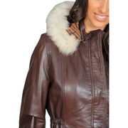 Womens Duffle Leather Coat Detachable Hood 3/4 Long Parka Jacket Mila Brown Feature