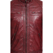 Gents Fitted Biker Leather Jacket Django Burgundy Feature 1