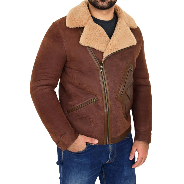 Mens Real Sheepskin Jacket Antique Flying Shearling B3 Coat Rocky Brown Front 1