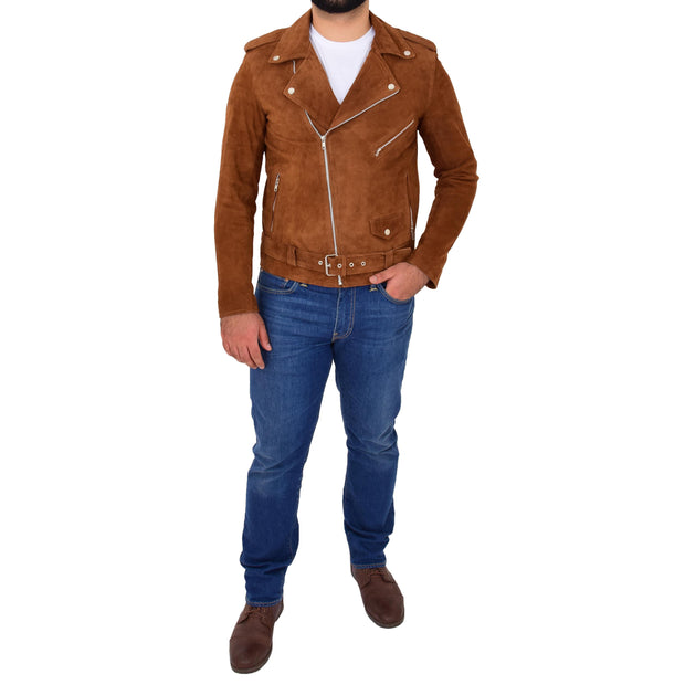 Genuine Suede Leather Biker Jacket For Mens Fitted Brando Coat Jay Cognac Full