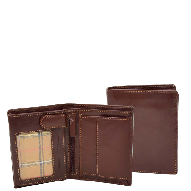 Gents Real Leather Bifold Large Wallet Cards Notes Coins Purse AVZ3 Brown