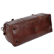 Brown Luxury Leather Holdall Travel Duffle Weekend Cabin Bag Targa Back Letdown
