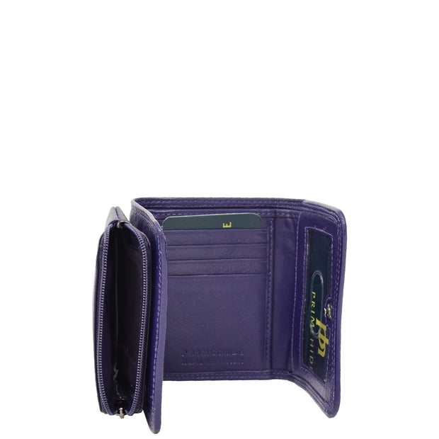 Womens Trifold Genuine Leather Purse Compact Clutch Style Wallet AL16 Purple Open 2