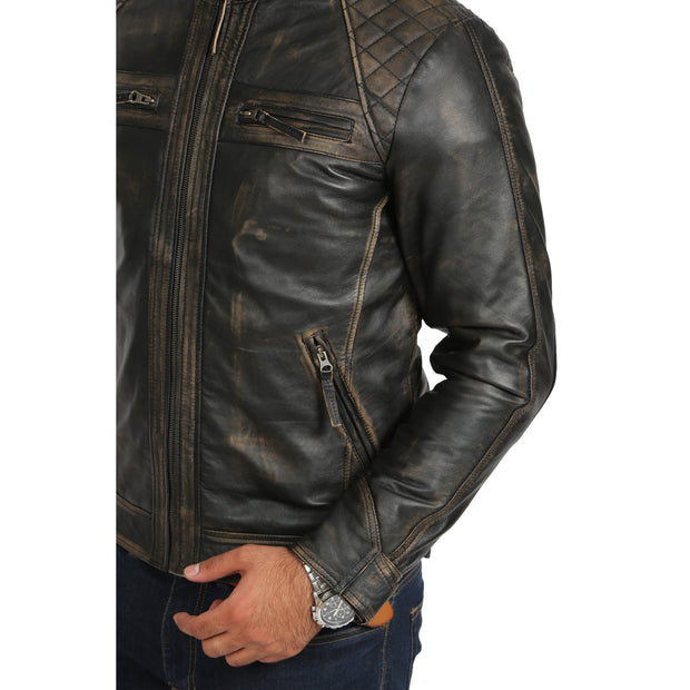 Gents Washed Biker Leather Jacket Django Rub Off Feature 2