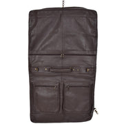 Genuine Luxury Leather Suit Garment Dress Carriers A112 Brown Front Open