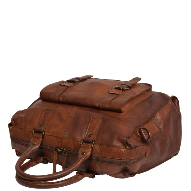 Real Leather Holdall Weekend Cabin Bag Bali Rust Front Letdown