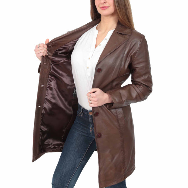 Womens 3/4 Button Fasten Leather Coat Cynthia Brown Lining