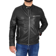 Mens Fitted Black Leather Biker Jacket Zip Fasten Brock