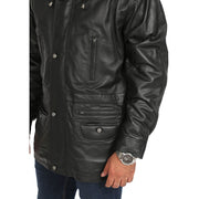 Gents Classic Soft Leather Parka Car Coat Steve Black feature view