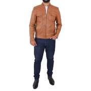 Mens Biker Leather Jacket Cognac Soft Nappa Fitted Standing Collar Tats Full