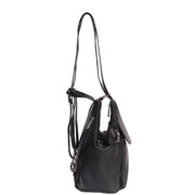 Womens Genuine Black Leather Backpack Walking Bag A57 Side
