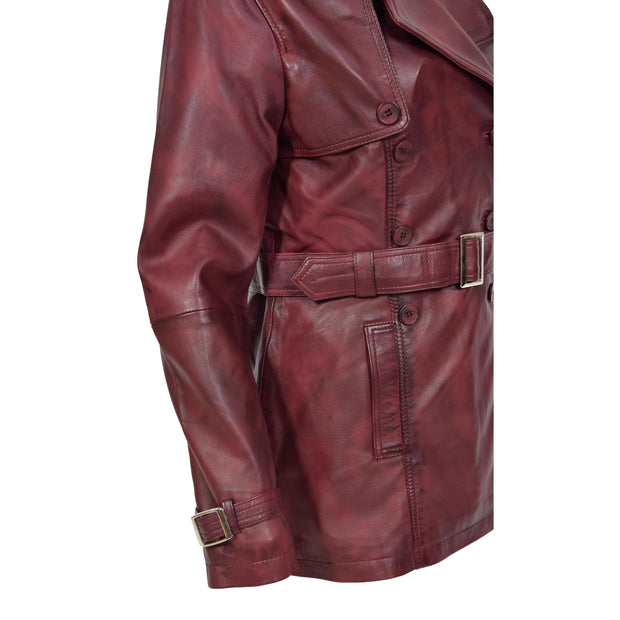 Womens Soft Leather Trench Coat Olivia Burgundy Feature
