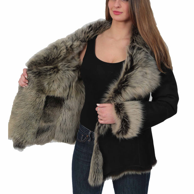 Womens Fitted Genuine Toscana Real Sheepskin Coat Pearl Black Lining