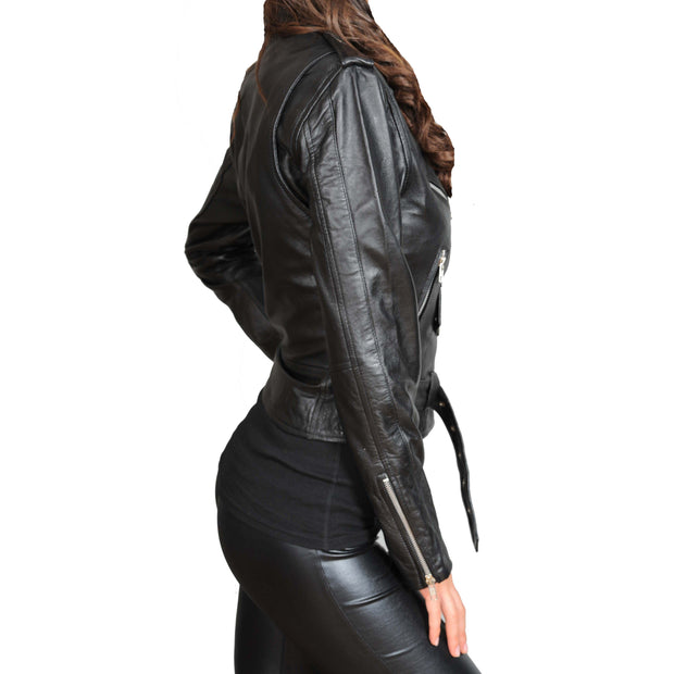 Ladies Belted Gorgeous Fitted Biker Real Leather Jacket Megan Black Side