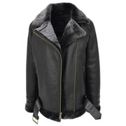 Womens Real Sheepskin Jacket Black X-Zip Aviator Belted Shearling Coat Willow Open