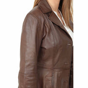 Womens 3/4 Button Fasten Leather Coat Cynthia Brown Feature