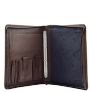 Brown Leather A4 Ring Binder File Folio Office Bag Zip Organiser Braga Open