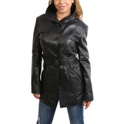 Womens Real Leather Hip Length Trench Parka Coat Alba Black Front 2