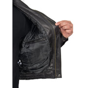 Mens Classic Bomber Soft Leather Jacket Alan Black lining view