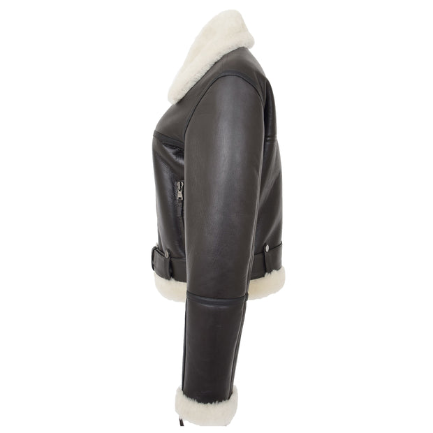 Womens Luxurious Brown Genuine Sheepskin Flying Jacket White Shearling Harriet Side