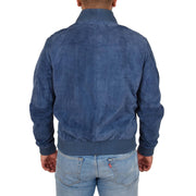 Mens Soft Goat Suede Bomber Varsity Baseball Jacket Blur Blue Back