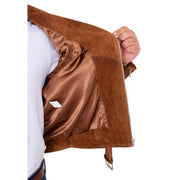 Genuine Suede Leather Biker Jacket For Mens Fitted Brando Coat Jay Cognac Lining