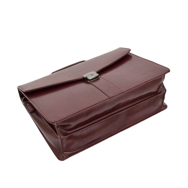 Brown Leather Briefcase For Mens Laptop Business Organiser Shoulder Bag Alvin Back Letdown
