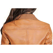Womens Slim Fit Bomber Leather Jacket Cameron Tan Feature 3