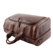 Genuine Leather Holdall Weekend Gym Business Travel Duffle Bag Ohio Brown Top View
