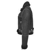 Womens Luxurious Genuine Sheepskin Flying Jacket Real Black Shearling Harriet Side